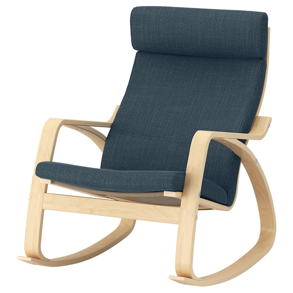 POÄNG Rocking-chair, birch veneer/Hillared dark blue