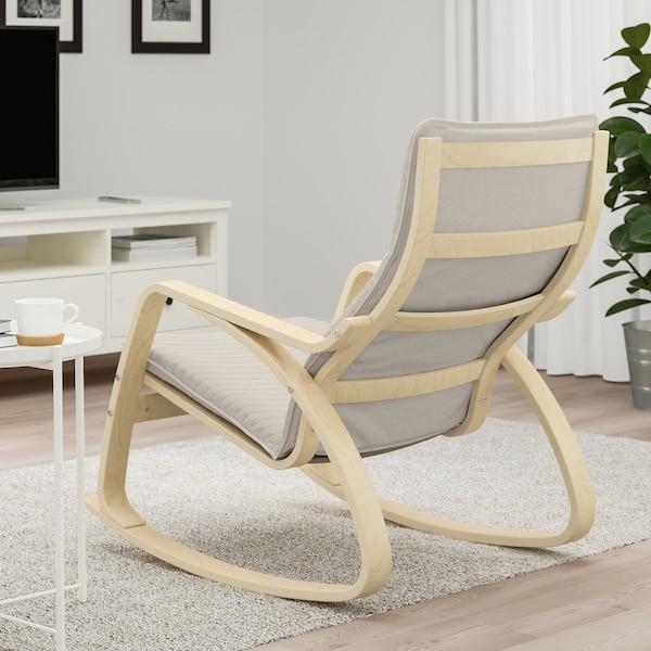 POÄNG Rocking-chair, birch veneer/Knisa light beige