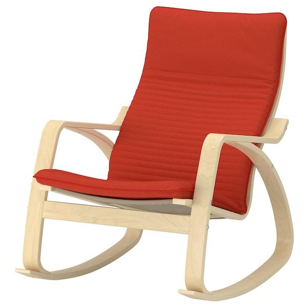 POÄNG Rocking-chair, birch veneer/Knisa red/orange