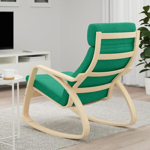 POÄNG Rocking-chair, birch veneer/Lysed bright green