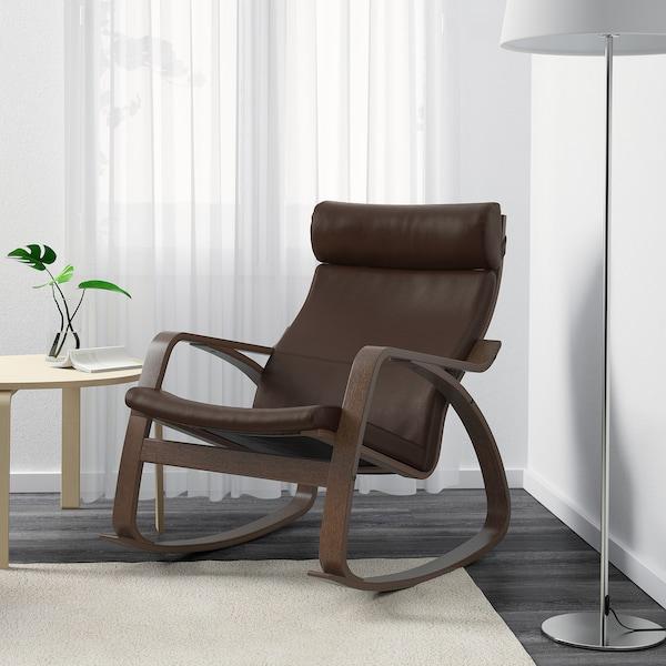 POÄNG كرسي هزّاز, بني/Glose بني غامق