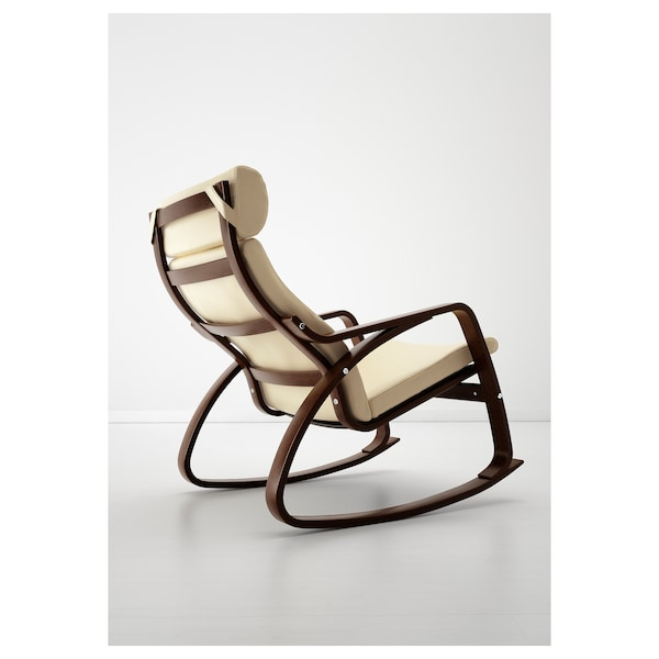 POÄNG Rocking-chair, brown/Glose eggshell