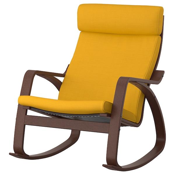 POÄNG كرسي هزّاز, بني/Skiftebo أصفر