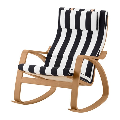 Po ng rocking chair stenli black white ikea for Chaise rocking chair ikea