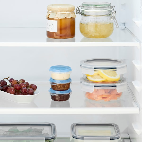 PRUTA Food container, transparent/blue, 70 ml