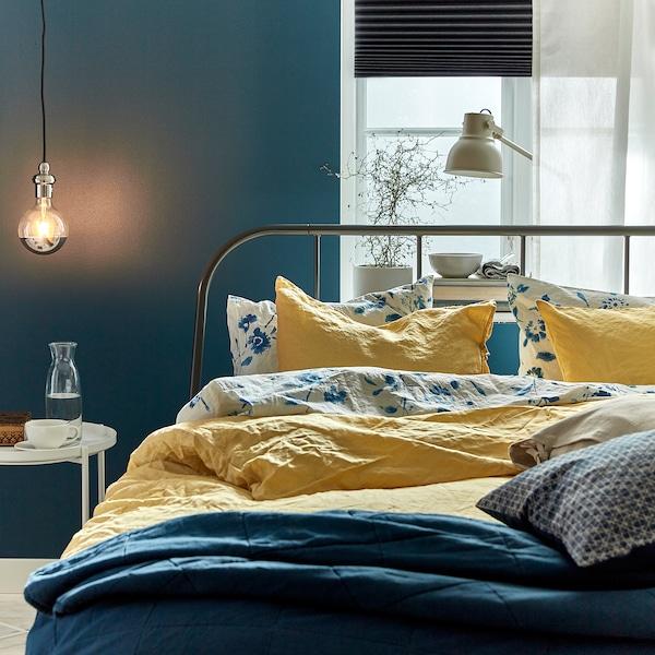 PUDERVIVA غطاء لحاف و ٢ غطاء مخدة, أصفر فاتح, 240x220/50x80 سم
