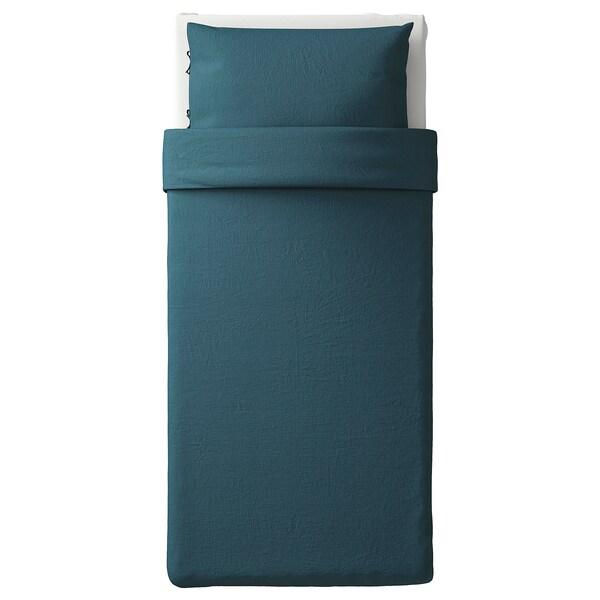 PUDERVIVA غطاء لحاف و غطاء مخدة, أزرق غامق, 150x200/50x80 سم