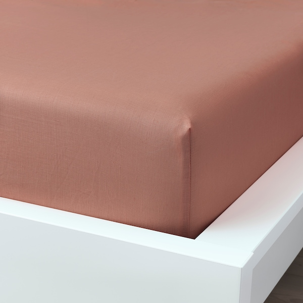 PUDERVIVA Fitted sheet, dark pink, 160x200 cm