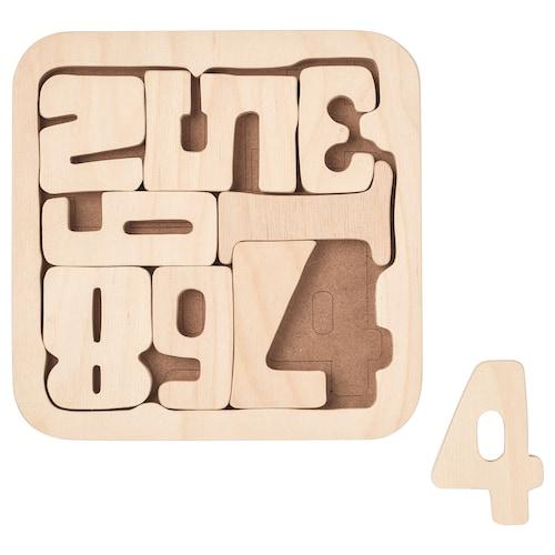 PYSSLA puzzle numbers/plywood 19.5 cm 19.5 cm