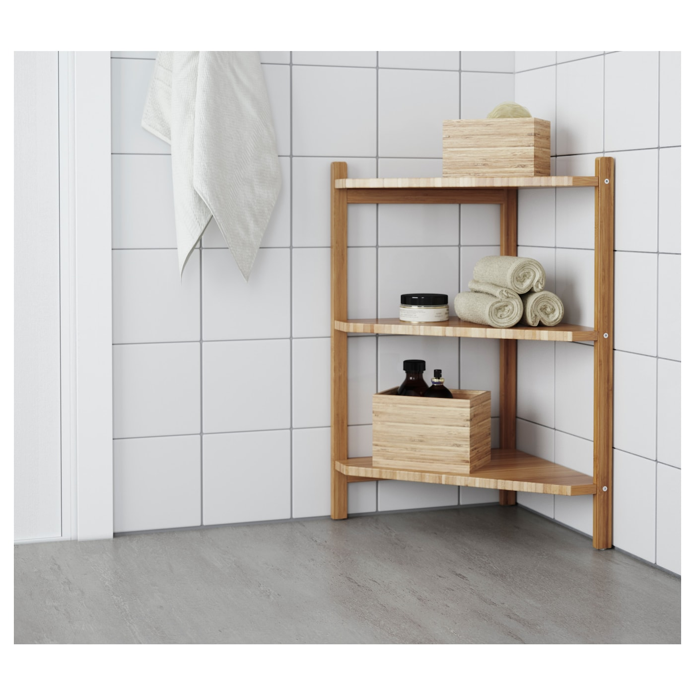 RÅGRUND Wash-basin/corner shelf - bamboo 7x7 cm