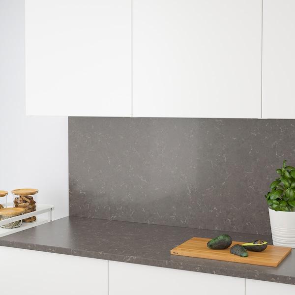 RÅHULT Custom made wall panel, matt dark grey/marble effect quartz, 1 m²x2.0 cm
