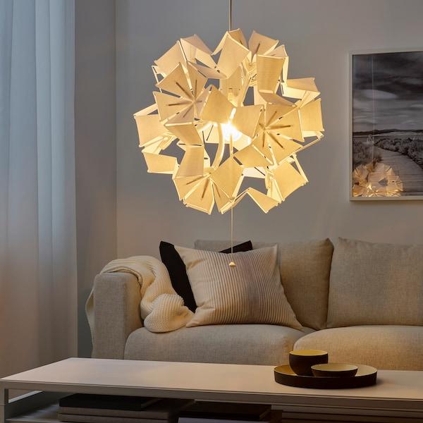 RAMSELE Pendant lamp, geometric/white, 43 cm