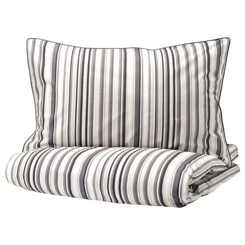 RANDGRÄS quilt cover and 2 pillowcases grey/stripe 200 /inch² 2 pack 220 cm 240 cm 50 cm 80 cm
