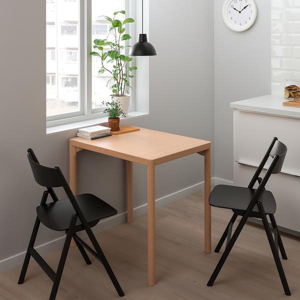 RÅVAROR / RÅVAROR طاولة و عدد 2 كرسي يطوى, قشرة سنديان/أسود, 60x78 سم