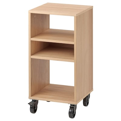 RÅVAROR Shelving unit on castors, oak veneer, 34x69 cm