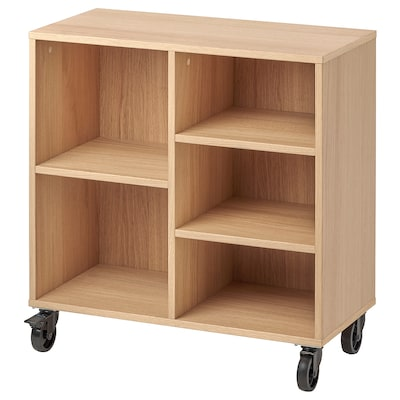 RÅVAROR Shelving unit on castors, oak veneer, 67x69 cm