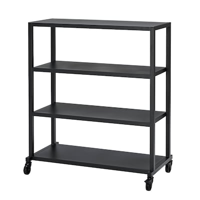 RÅVAROR Storage unit on castors, black, 100x115 cm