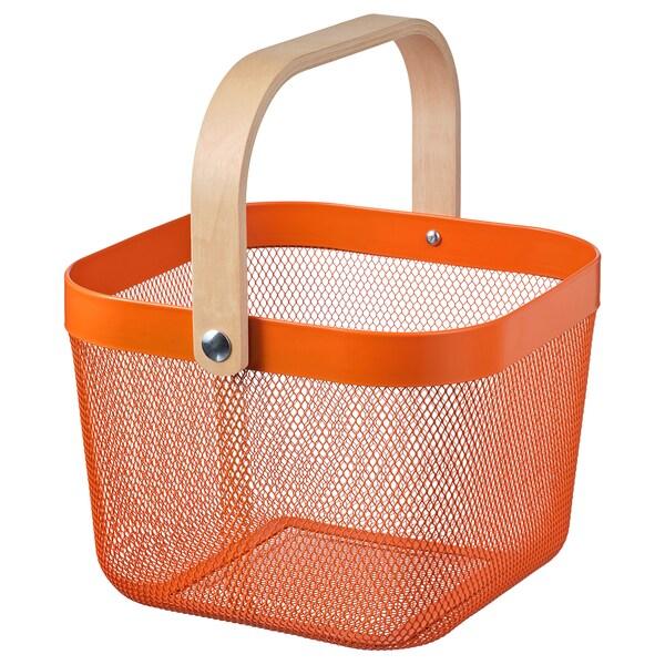 RISATORP سلة, برتقالي, 25x26x18 سم