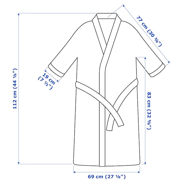 ROCKÅN Bath robe, grey, L/XL