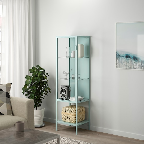 RUDSTA Glass-door cabinet, light turquoise, 42x37x155 cm