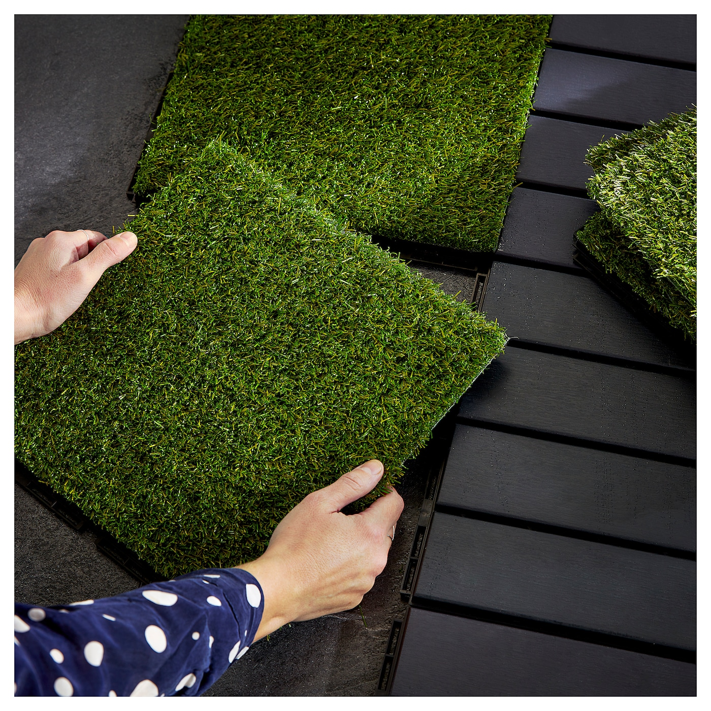 RUNNEN Floor decking, outdoor - artificial grass 10.10 m²