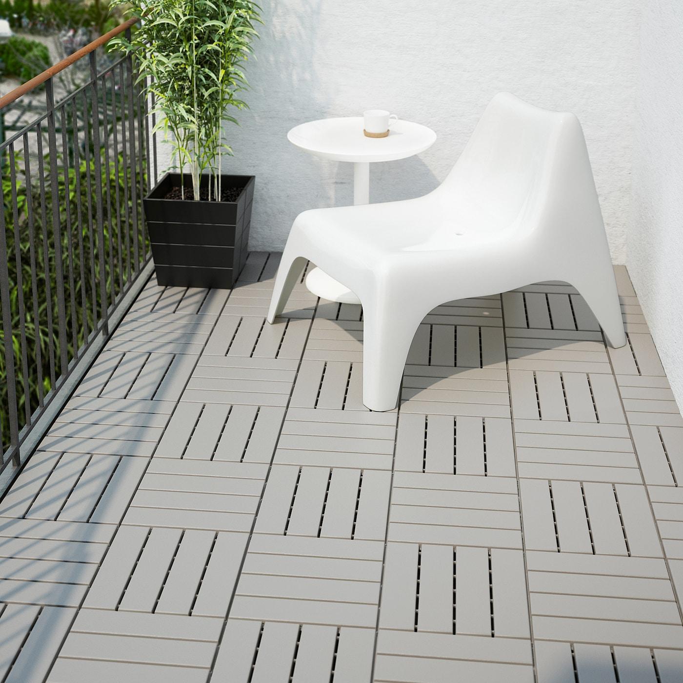 RUNNEN Floor decking, outdoor - grey 3.3 m²
