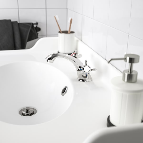 RUNSKÄR wash-basin mixer tap with strainer chrome-plated 10 cm