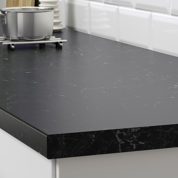 SÄLJAN سطح عمل, أسود شكل المرمر/صفائح رقيقة, 246x3.8 سم