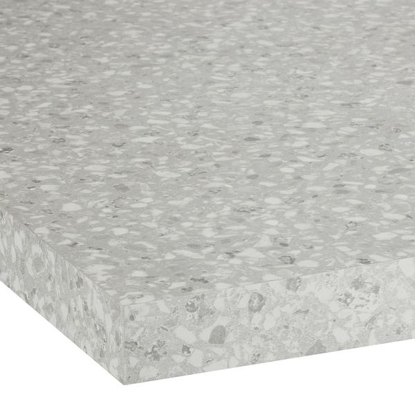 SÄLJAN سطح عمل, رمادي فاتح التأثير المعدني/صفائح رقيقة, 186x3.8 سم