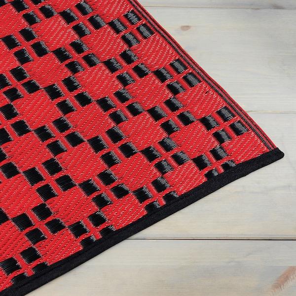 SAMMANKOPPLA Rug, flatwoven, red/black, 75x150 cm