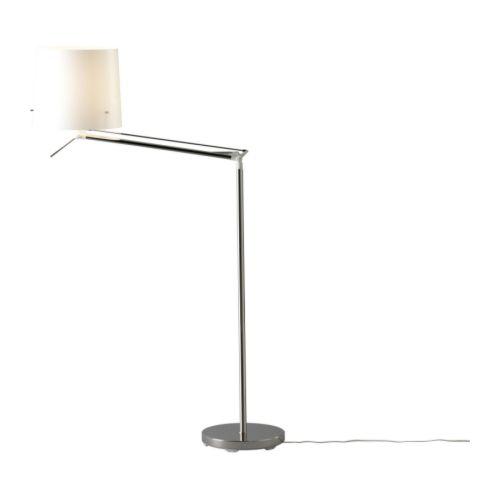 SAMTID Floor/reading lamp, nickel-plated, white