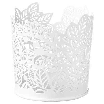 SAMVERKA Tealight holder, white, 8 cm