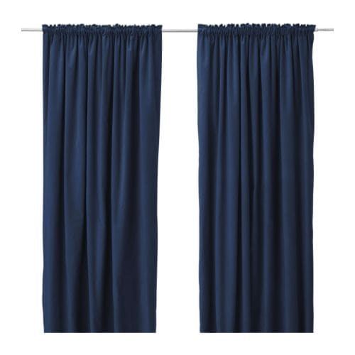 Secrets to inexpensive but good drapery emily henderson for Navy blue curtains ikea