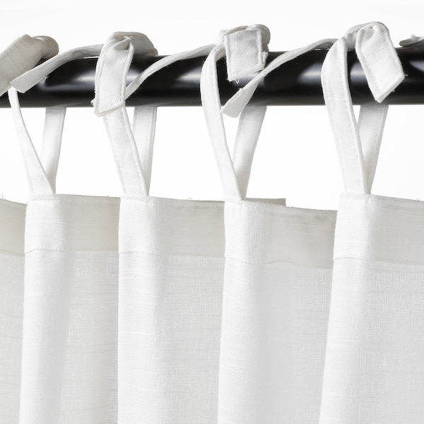 SÅNGLÄRKA Curtains with tie-backs, 1 pair, butterfly/white blue, 120x300 cm