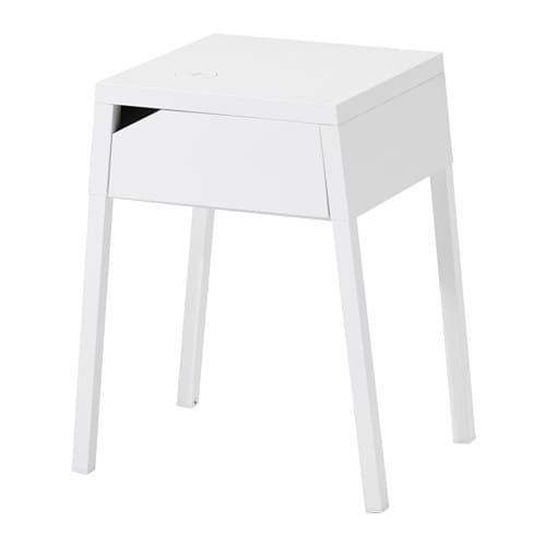 SELJE Bedside table with hole for charger, white