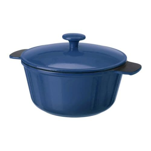SENIOR Casserole with lid IKEA Made from cast iron, which spreads heat evenly and retains it for a long time; good for roasts and rich casseroles.