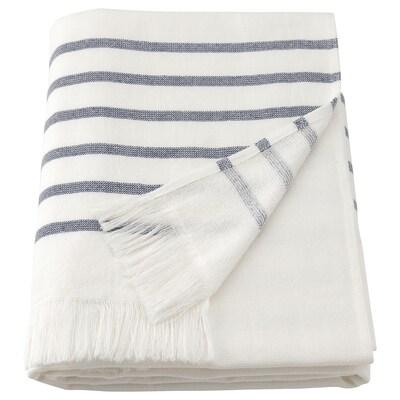 SIESJÖN منشفة حمّام, أبيض/أزرق شريط, 70x140 سم