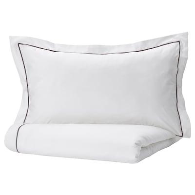 SILVERTISTEL غطاء لحاف و ٢ غطاء مخدة, أبيض/رمادي غامق, 240x220/50x80 سم