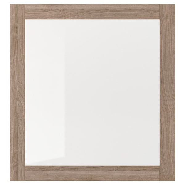 SINDVIK باب زجاج, مظهر الجوز مصبوغ رمادي/زجاج شفاف, 60x64 سم