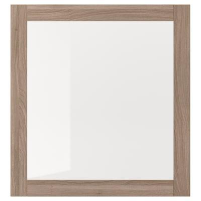 SINDVIK Glass door, grey stained walnut effect/clear glass, 60x64 cm