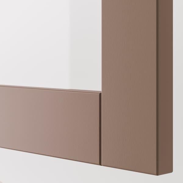 SINDVIK باب زجاج, رمادي فاتح-بني/زجاج شفاف, 60x64 سم