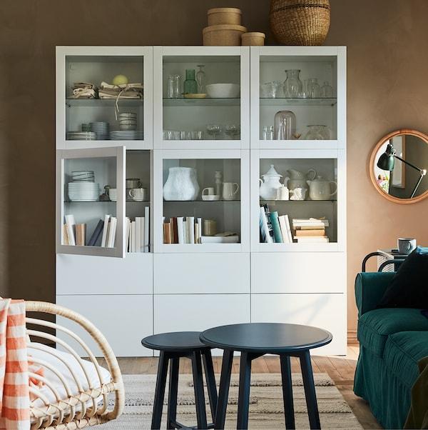 SINDVIK باب زجاج, أبيض/زجاج شفاف, 60x64 سم
