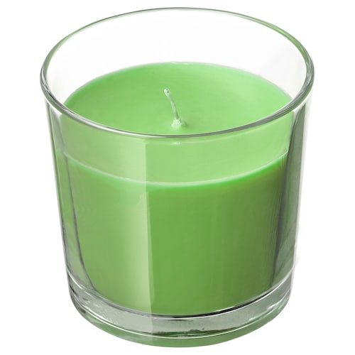 SINNLIG scented candle in glass Apple and pear/green 9 cm 40 hr