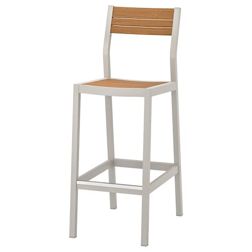 SJÄLLAND bar stool with backrest, outdoor light grey/light brown 110 kg 40 cm 56 cm 110 cm 40 cm 39 cm 74 cm