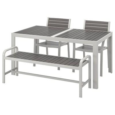 SJÄLLAND طاولة+2كراسي+مصطبة، خارجية, رمادي غامق