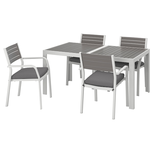 SJÄLLAND Table+4 chairs w armrests, outdoor, dark grey/Frösön/Duvholmen dark grey, 156x90 cm