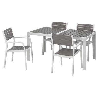 SJÄLLAND طاولة+4كراسي بمساند ذراعين،خارجية, رمادي غامق/رمادي فاتح, 156x90 سم