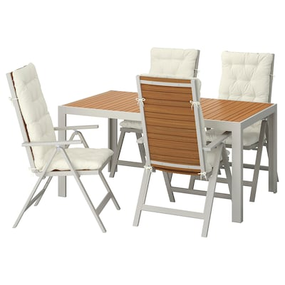 SJÄLLAND طاولة+4 كراسي استلقاء، خارجية, بني فاتح/Kuddarna بيج, 156x90 سم