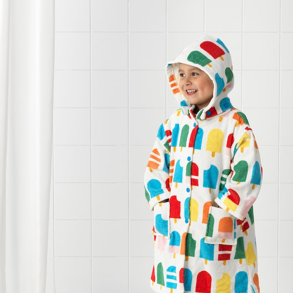 SJÖLEJON bath robe ice lolly stick patterned 110 cm 380 g/m²