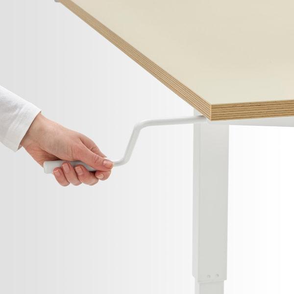 SKARSTA مكتب متغيّر الارتفاع, بيج/أبيض, 160x80 سم